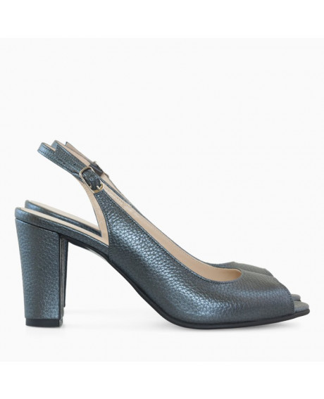 Pantofi gri antracit din piele naturala Maya D99 - sau Orice Culoare