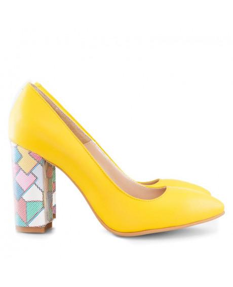 Pantofi galbeni din piele naturala Summer D3