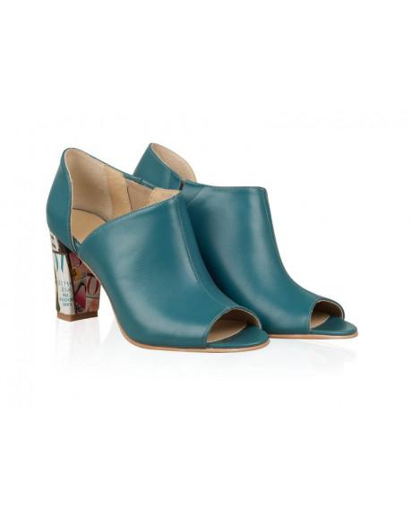 Pantofi din piele naturala Lia turcoaz N109 - sau Orice Culoare