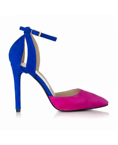 Pantofi fuchsia din piele intoarsa Sara S32