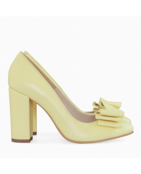 Pantofi galbeni din piele naturala Delicious D81 - sau Orice Culoare