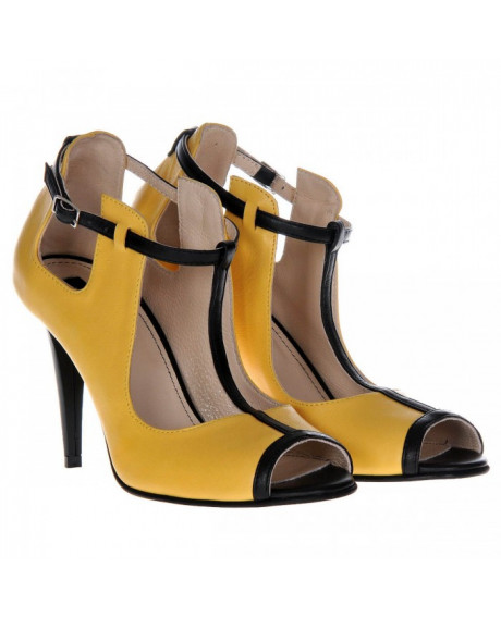 Pantofi galbeni din piele Zora S75 - sau Orice Culoare