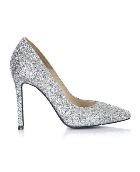 Pantofi glitter argintiu Stiletto L09