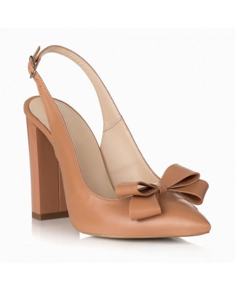 Pantofi Kamelia din piele naturala cappuccino S29