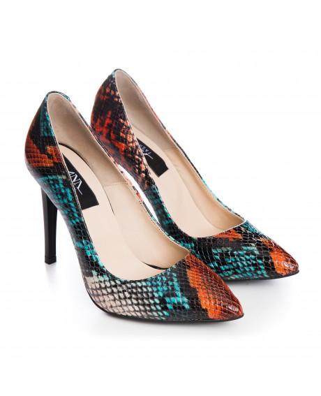 Pantofi Stiletto din piele naturala multicolor Spice S55