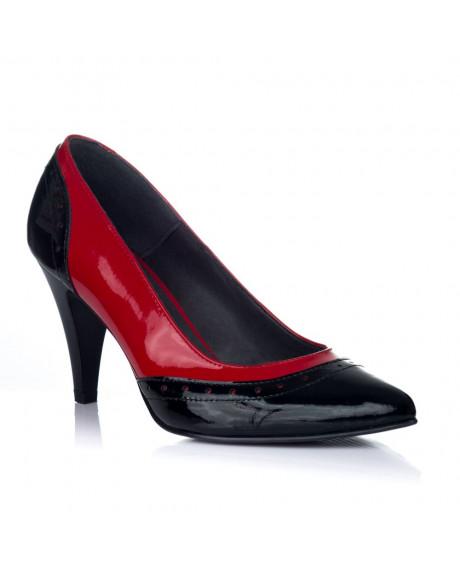 Pantofi piele Stiletto Sylvia rosu/negru V1