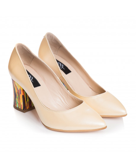 Pantofi Stiletto galben pal din piele naturala Zorina S7