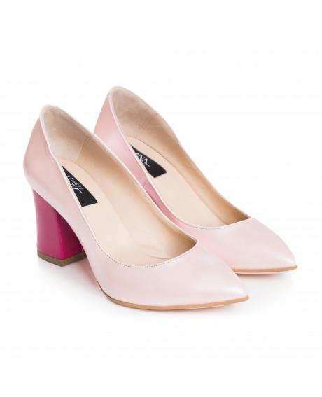 Pantofi Stiletto roz din piele naturala Zorina S5