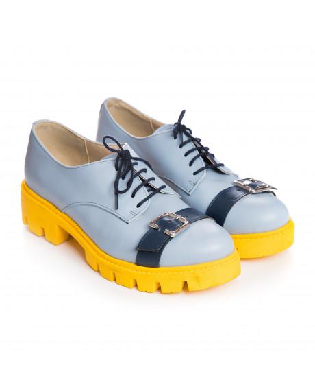 Pantofi piele tip Oxford Blue World V21