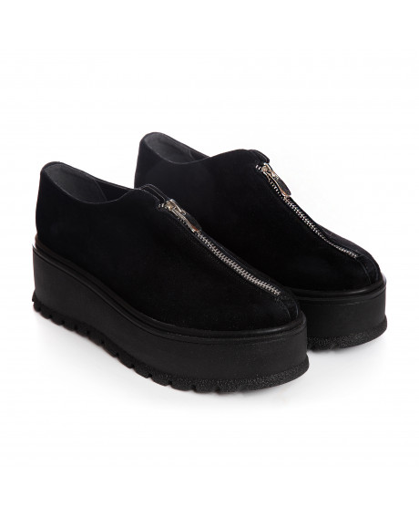 Pantofi negri piele intoarsa Zafy V66