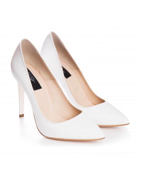Pantofi Stiletto alb croco Destiny S33