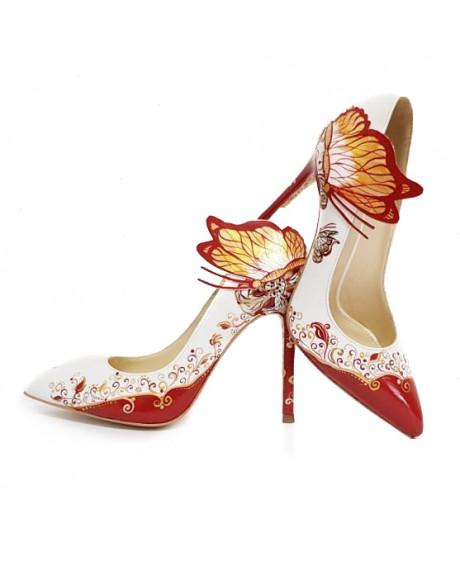 Pantofi piele pictati manual IRIS C107 - sau Orice Culoare