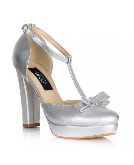 Pantofi mireasa argintii L2 - sau Orice Culoare