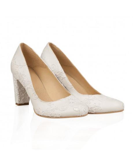 Pantofi mireasa cu dantela Elisa N105