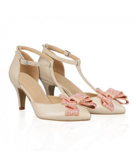 Pantofi mireasa Iamina cu funda Glitter N81