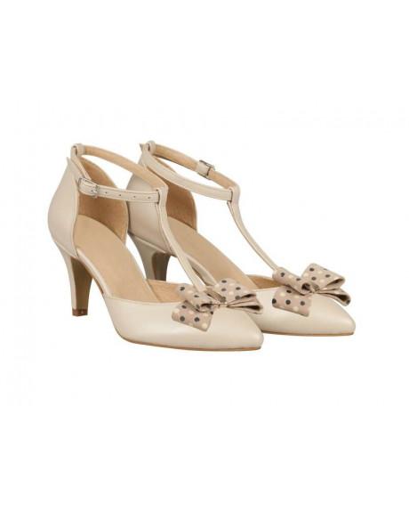 Pantofi mireasa Iamina cu funda Bej N71 - sau Orice Culoare