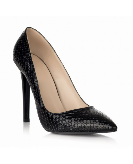 Pantofi negri imprimeu sarpe Stiletto All Day S15