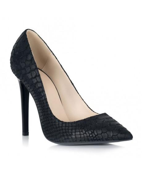 Pantofi negru sarpe piele Marissa S107 - sau Orice Culoare