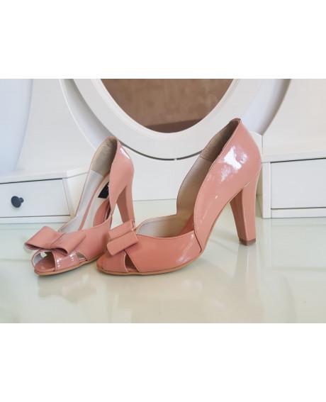 Pantofi nude din piele naturala V5 - marimea 36