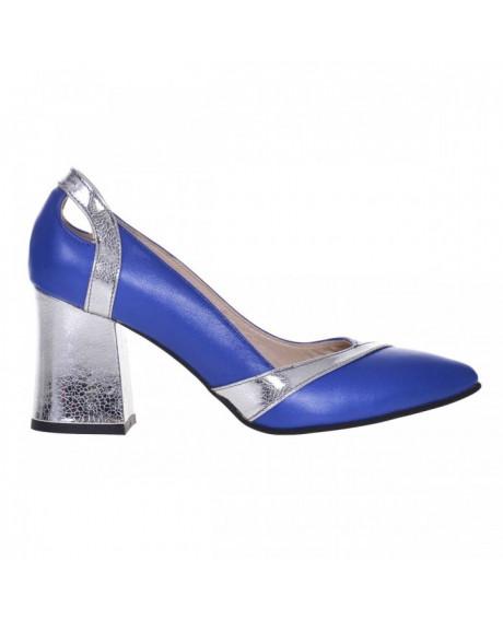 Pantofi Office din piele naturala Dona albastru S7 - sau Orice Culoare