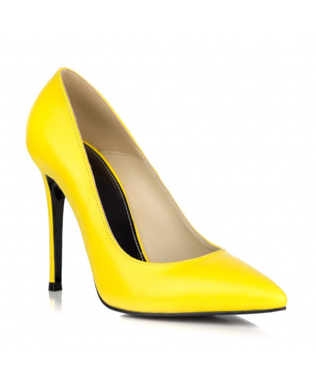 Pantofi piele Stiletto galben L07