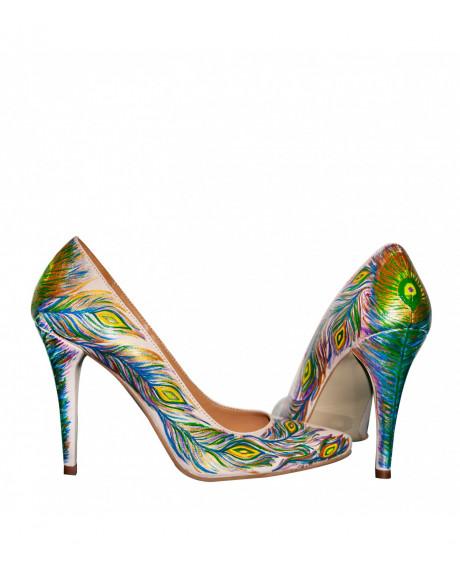 Pantofi piele pictati manual Stiletto Romantics - sau Orice Culoare