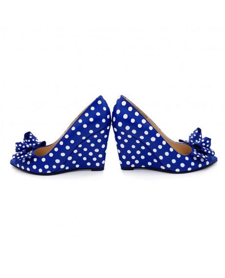 Pantofi piele pictati manual Blue Dots D109 - sau Orice Culoare
