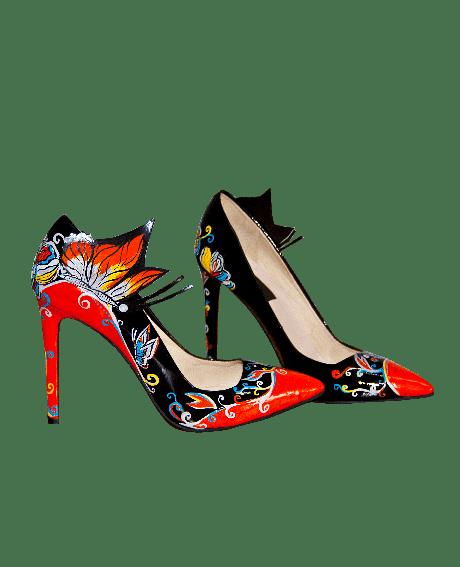Pantofi pictati manual Orange Butterfly AF-sau Orice Culoare