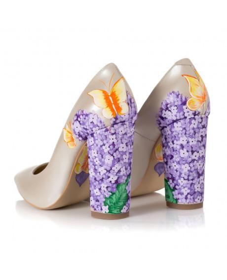 Pantofi piele pictati manual Model Liliac C105 - sau Orice Culoare
