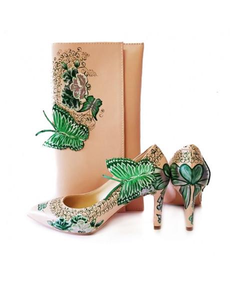 Pantofi piele pictati manual Green Nature L101 - sau Orice Culoare