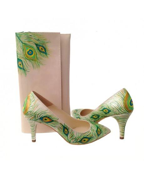 Pantofi pictati manual Pana de Paun REvolution C41 - sau Orice Culoare
