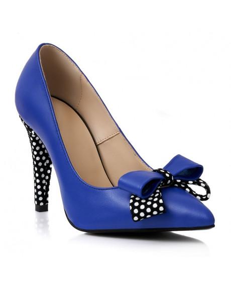 Pantofi piele albastri cu buline S91 - sau Orice Culoare