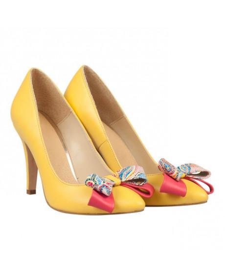 Pantofi galbeni din piele naturala Sabrina N17 - sau Orice Culoare