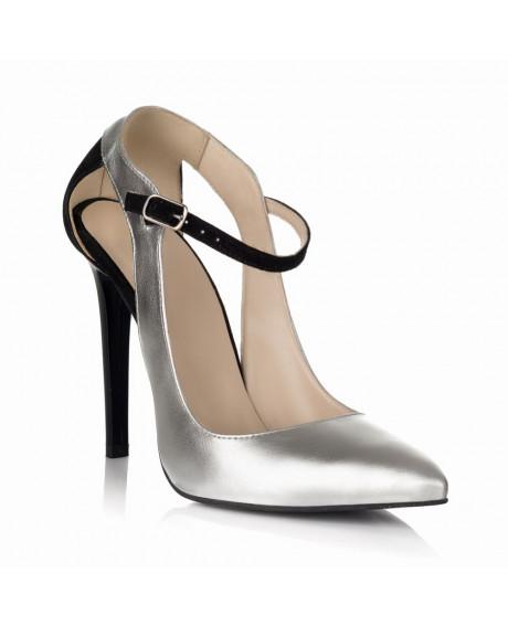 Pantofi piele Arina argintii S10