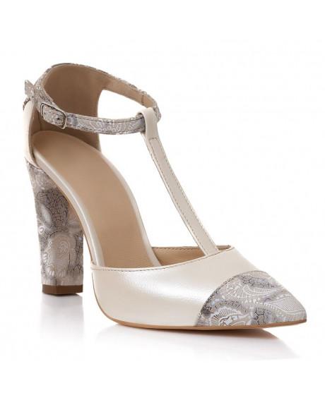 Pantofi piele bej Iustina S60 - sau Orice Culoare