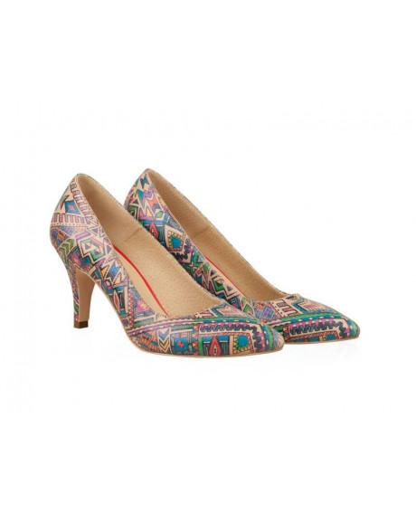 Pantofi piele Stiletto Clara Rainbow - N56