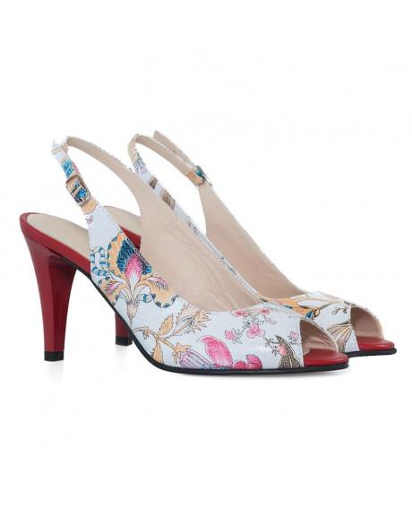 Pantofi piele Delia cu flori D12 - sau Orice Culoare