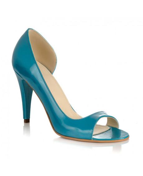 Pantofi piele Emilia turcoaz L06