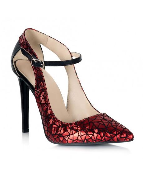 Pantofi piele imprimeu rosu Arina S109 - sau Orice Culoare
