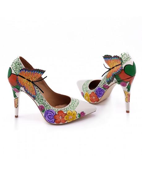 Pantofi piele pictati manual Estelle L107 - sau Orice Culoare