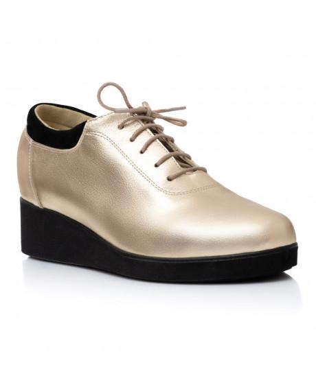 Pantofi piele naturala aurii Cora V5 - sau Orice Culoare