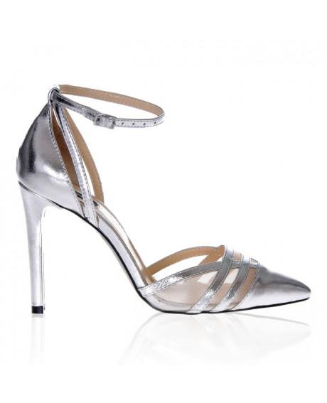 Pantofi piele naturala Lovely, argintii S15 - sau Orice Culoare