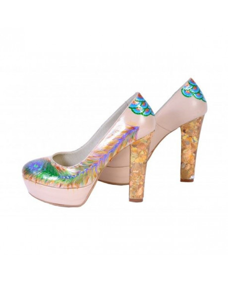 Pantofi piele naturala Lindi pictati manual 04-sau Orice Culoare