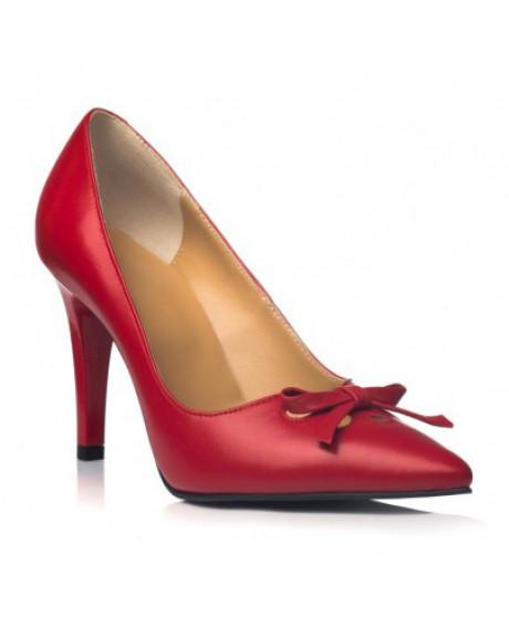 Pantofi rosii din piele naturala Rina C101 - sau Orice Culoare