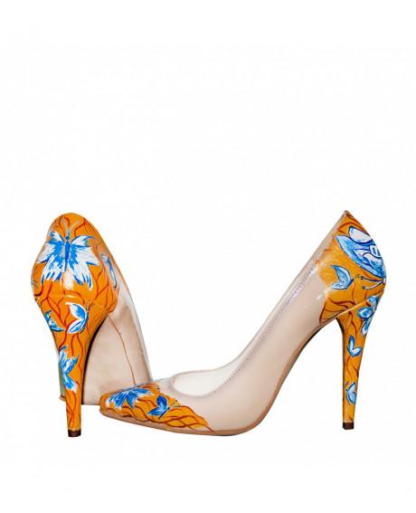 Pantofi piele pictati manual Stiletto Dream - sau Orice Culoare