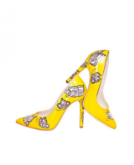 Pantofi piele pictati manual Sorbet L33 - sau Orice Culoare