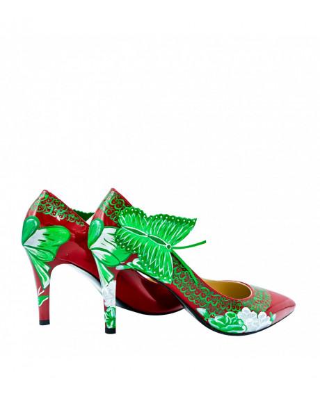 Pantofi piele pictati manual Red Nature L115 - sau Orice Culoare