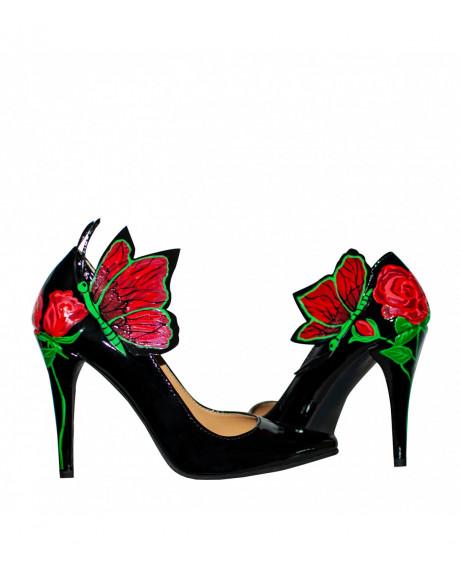Pantofi piele pictati manual Stiletto Roses - marimea 34