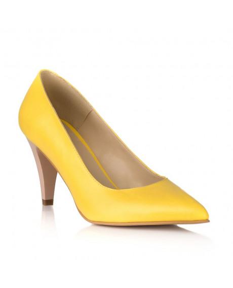 Pantofi piele Stiletto Simply galben V02
