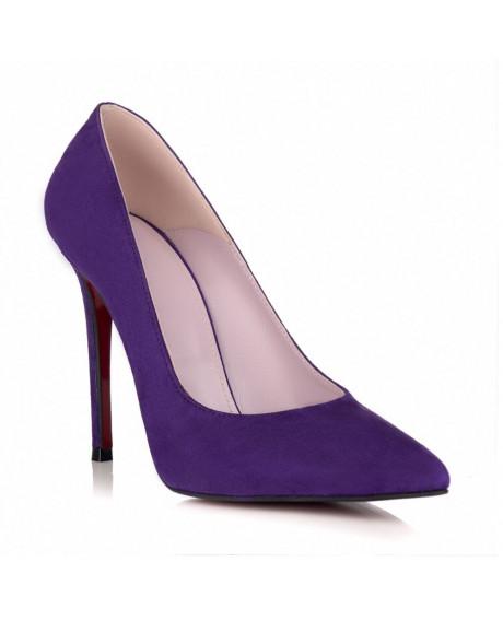 Pantofi piele Stiletto mov L08